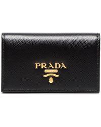 Prada Small Logo Leather Wallet - Black