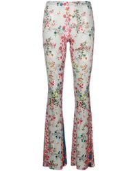 Black Coral - Floral Print Flared Trousers - Lyst