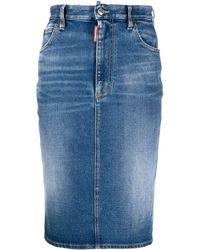 DSquared² Jupe crayon mi-longue en jean - Bleu