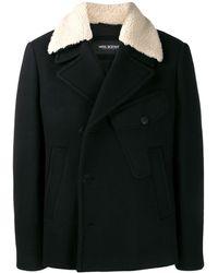 Neil Barrett Shearling Double Breasted Coat - Black