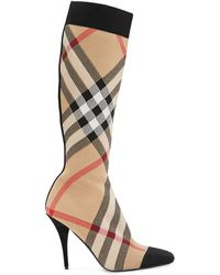 Burberry Check Stretch Knit Sock Boots - Natural