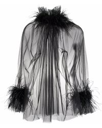 Styland Sheer Feather-trimmed Blouse - Black
