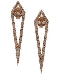 Eva Fehren 18kt Rose Gold Diamond dagger Studs - Metallic