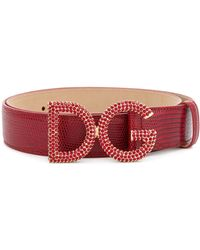 Dolce & Gabbana Crystal Embellished Logo Buckle Belt - Красный