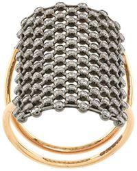 Diane Kordas Crystal Embellished Net Pattern Ring - Metallic