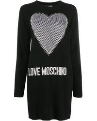 Love Moschino ハートトリム ニットドレス - ブラック