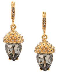 Oscar de la Renta Runway Pave Acorn Drop Earrings - Metallic