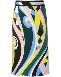 Emilio Pucci Abstract Print Pencil Skirt - Multicolour
