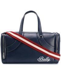 Bally コントラストロゴ ボストンバッグ - ブルー