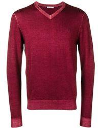 Sun 68 Slim-fit Logo V-neck Sweater - Red