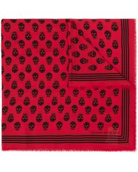 Alexander McQueen Sjaal Met Doodskopprint - Rood