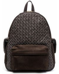Eleventy Zip-up Leather Backpack - Brown