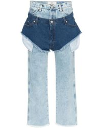 Natasha Zinko - High Waisted Jeans With A Denim Shorts Layer - Lyst
