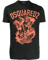 DSquared² T-Shirt mit grafischem Print - Schwarz
