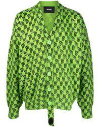 we11done Monogram Print Cardigan - Green