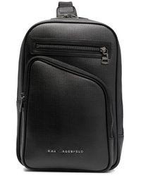 Karl Lagerfeld ロゴプレート バックパック - ブラック