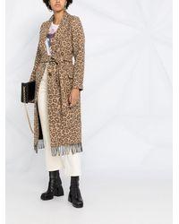 Twin Set Пальто С Поясом И Леопардовым Принтом - Коричневый