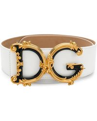 Dolce & Gabbana Cinturón De Cuero Con El Logo Dg Barroco - Blanco