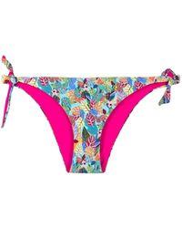Liu Jo Leaf-print Tie-fastening Bikini Bottoms - Blue