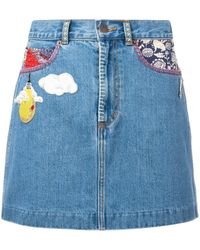 Marc Jacobs Raw Edge Denim Mini Skirt - Blue