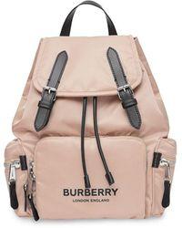 Burberry Mochila Rucksack con logo estampado ECONYL® mediana - Rosa