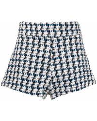Amen Tweed High Rise Shorts - Blue