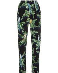 Stella McCartney Silk Tropical Print Trousers - Zwart