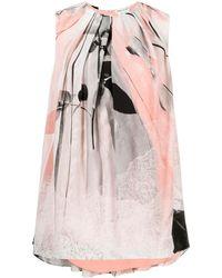 Alexander McQueen Многослойная Блузка С Графичным Принтом - Розовый