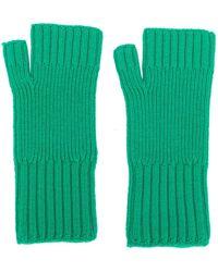 AMI Fisherman's Rib Fingerless Gloves - Green