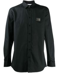 Moschino Рубашка С Длинными Рукавами И Логотипом - Черный
