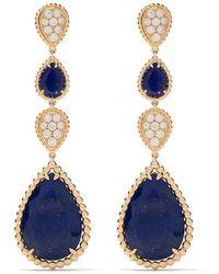 Boucheron 18kt Yellow Gold Serpent Bohème Diamond And Lapis Lazuli Motif S Pendant Earrings - Blue