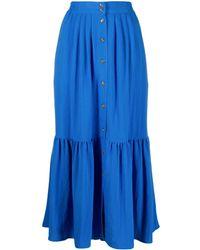 Closed Button Down Skirt - Blue