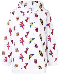 MSGM Embroidered Details Hoodie - Wit