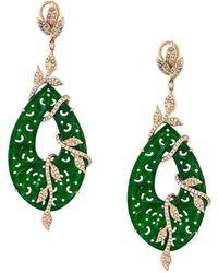 Gemco Carved Jade Drop Diamond Earrings - Green