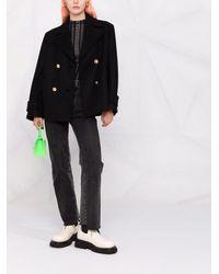 Versace メドゥーサボタン ダブルコート - ブラック