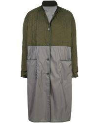 Haider Ackermann Длинное Атласное Пальто Со Стегаными Вставками - Многоцветный