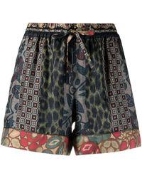 Pierre Louis Mascia Printed Silk Shorts - Blue