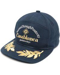 CASABLANCA エンブロイダリー キャップ - ブルー