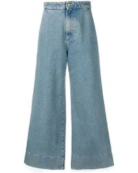 Loewe - Wide Leg Cotton Denim Jeans - Lyst