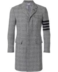 Thom Browne 4-bar Prince Of Wales Check Wool High-armhole Chesterfield Overcoat - Zwart