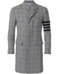 Thom Browne 4-bar Prince Of Wales Check Wool High-armhole Chesterfield Overcoat - Black