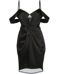 Fleur du Mal Draped Mesh-panel Dress - Black