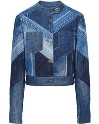Prada Herringbone Patchwork Denim Jacket - Blue