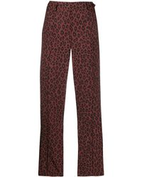 A.P.C. Cropped Leopard Print Trousers - Red