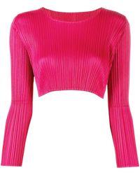 Pleats Please Issey Miyake Плиссированный Укороченный Топ С Длинными Рукавами - Розовый