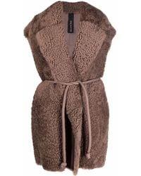 Blancha Sleeveless Fur Jacket - Brown