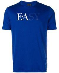 Emporio Armani - T-Shirt mit aufgesticktem Logo - Lyst