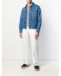 Giorgio Armani 1990's Logo Print Loose Jeans - White