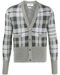 Thom Browne Tartan Check Jacquard V-neck Cardigan - Gray