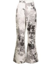 Bambah Tie-dye Print Flared Trousers - Grey